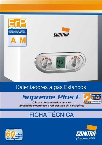 Ficha Calentador SUPREME PLUS E 2016 ERP