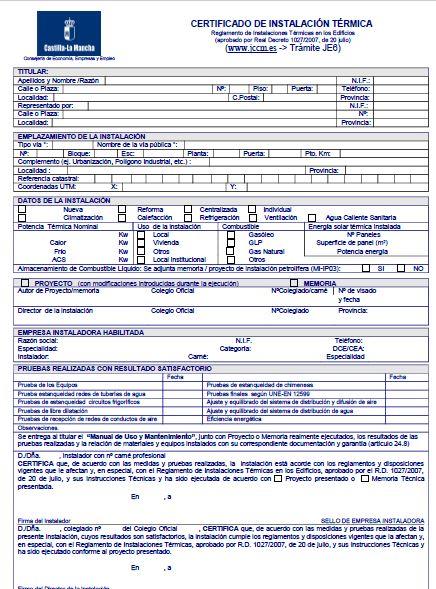 Certificados y alta de gas mantenimiento y rite precios for Precio gasoil calefaccion madrid