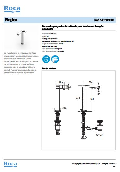grifo lavabo progresivo alto single ficha