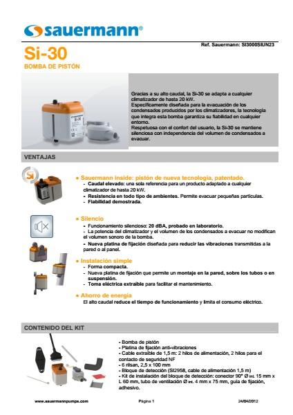 Bomba de condensados para aire acondicionado SAUERMANN SI-30 - ficha de producto