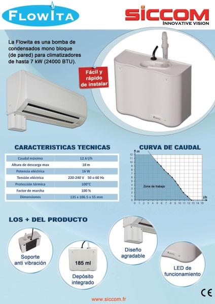 Bomba de condensados para aire acondicionado SICCOM Flowita  - ficha de producto