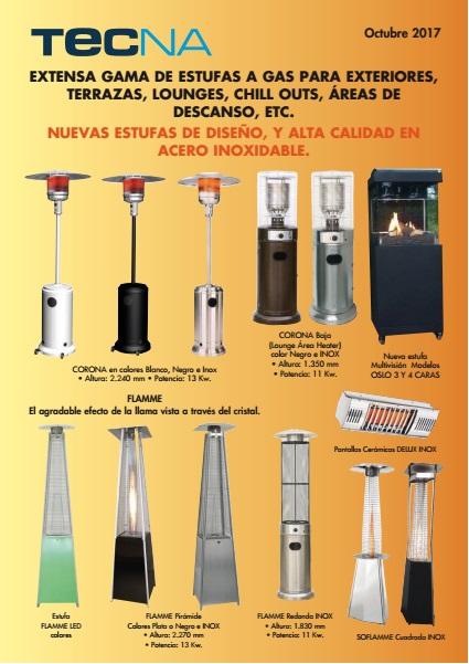 Catalogo tarifa Calefaccion exteriores a gas Tecna 2017