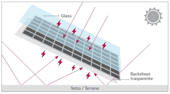 Placa solar fotovoltáica LG 300 bifacial - detalle