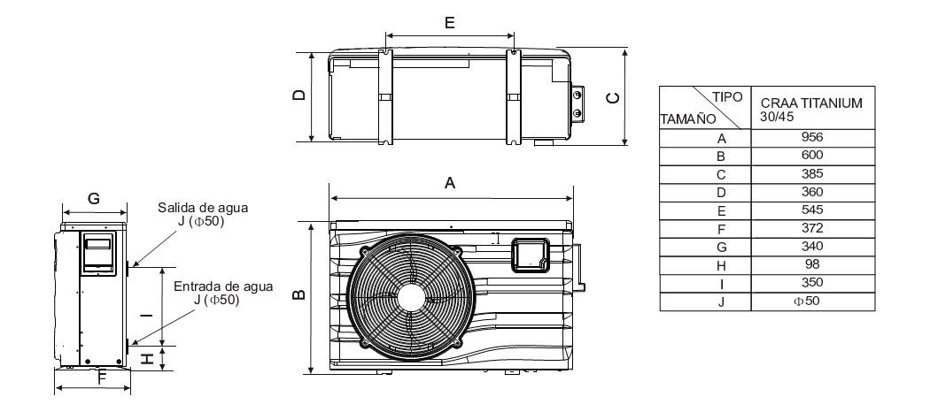 Bombas de calor para piscinas daitsu craa titanium 30 for Instalacion de bomba de calor para piscinas
