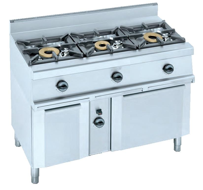 Cocina con horno a gas eurast 3301 3 fuegos for Cocinas 5 fuegos gas