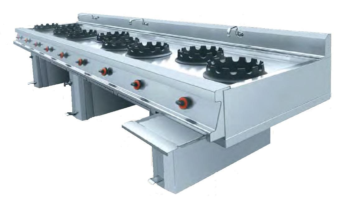 Cocina wok a gas eurast 3417 8 fuegos for Material cocina industrial
