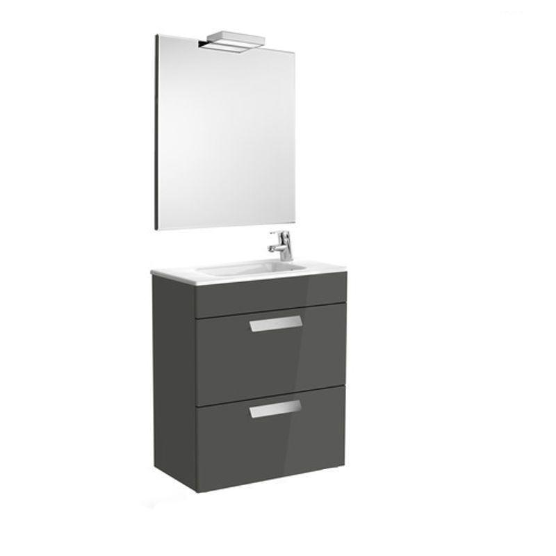 Conjunto mueble de ba o roca debba compact 60x36cm gris for Muebles bano roca precios