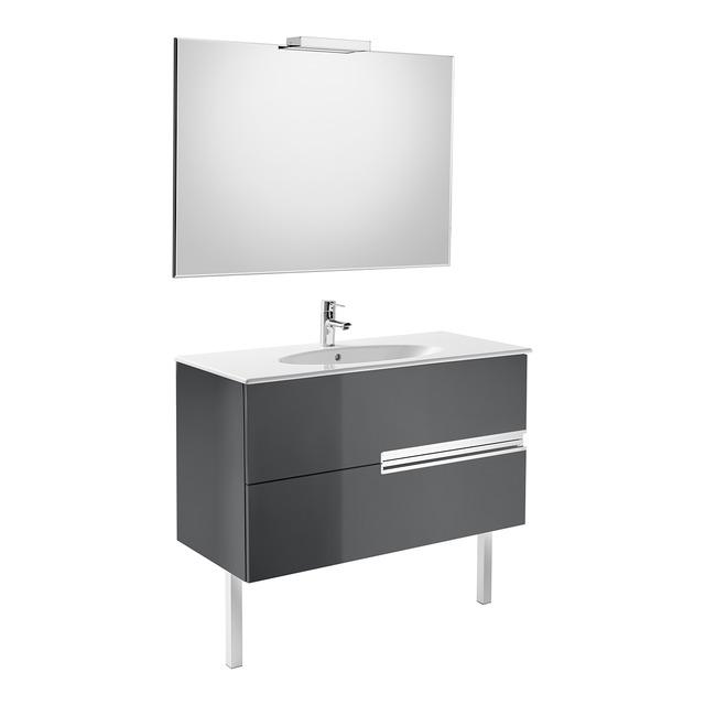Conjunto mueble de ba o roca victoria n oval 80x46cm gris for Roca modelo victoria precios