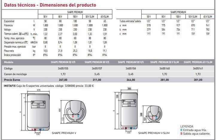 Termo el ctrico ariston shape premium 50 v 1 8k eu for Ariston shape premium 100