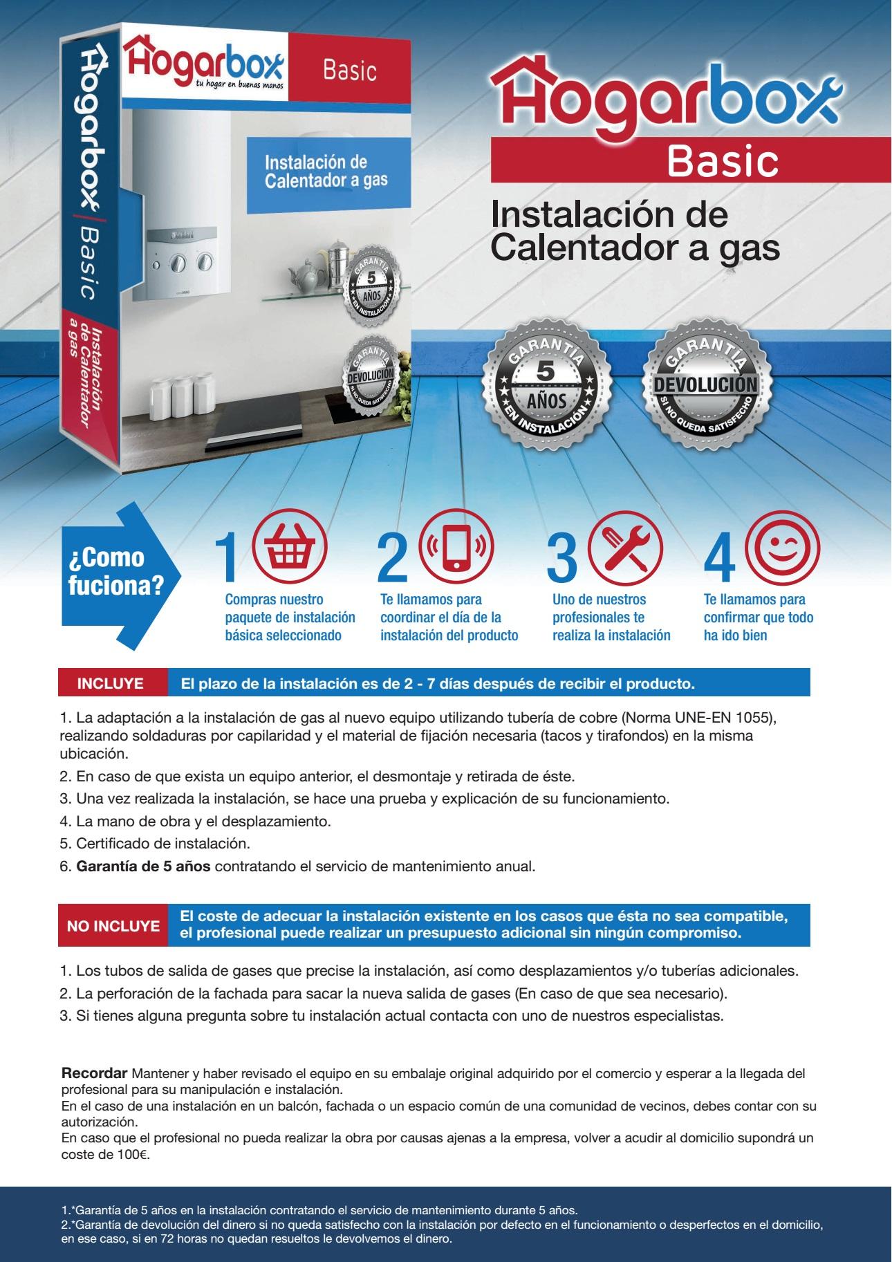 Hogarbox basic precio instalaci n calentador a gas for Instalacion calentador gas