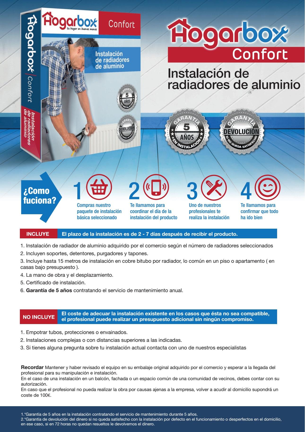 Hogarbox confort precio instalaci n radiadores for Precio instalacion calefaccion radiadores