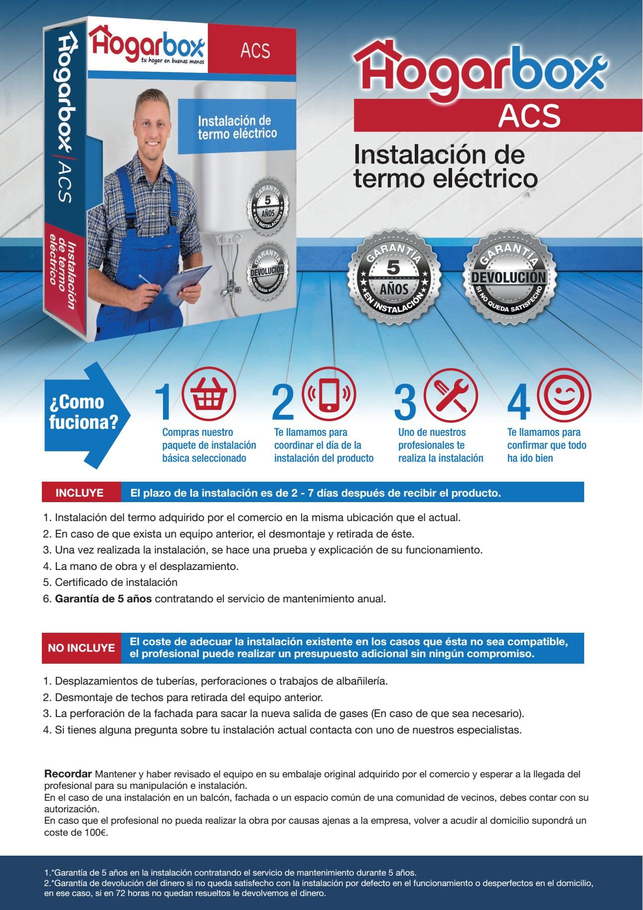 hogarbox acs precio instalaci n termo el ctrico ForInstalacion Termo Electrico Precio