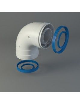 Codo 90º coaxial de aluminio 60x100 H/H Fig