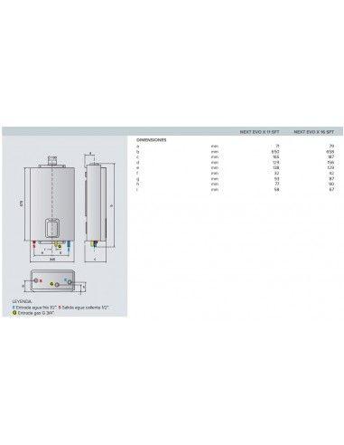 Ariston Next Evo SFT 16L Calentador de Gas Butano 16 Litros Instant/áneo C/ámara Estanco Bajo NOx