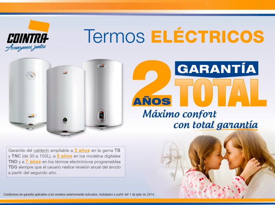 Dos años de garantía en la compra de termos eléctricos Cointra