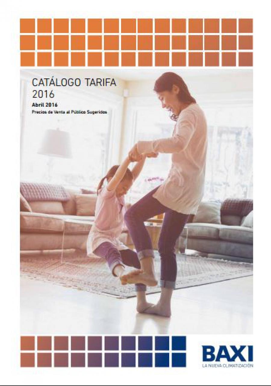 Tarifa Calefacción Baxi 2016, catálogo de precios