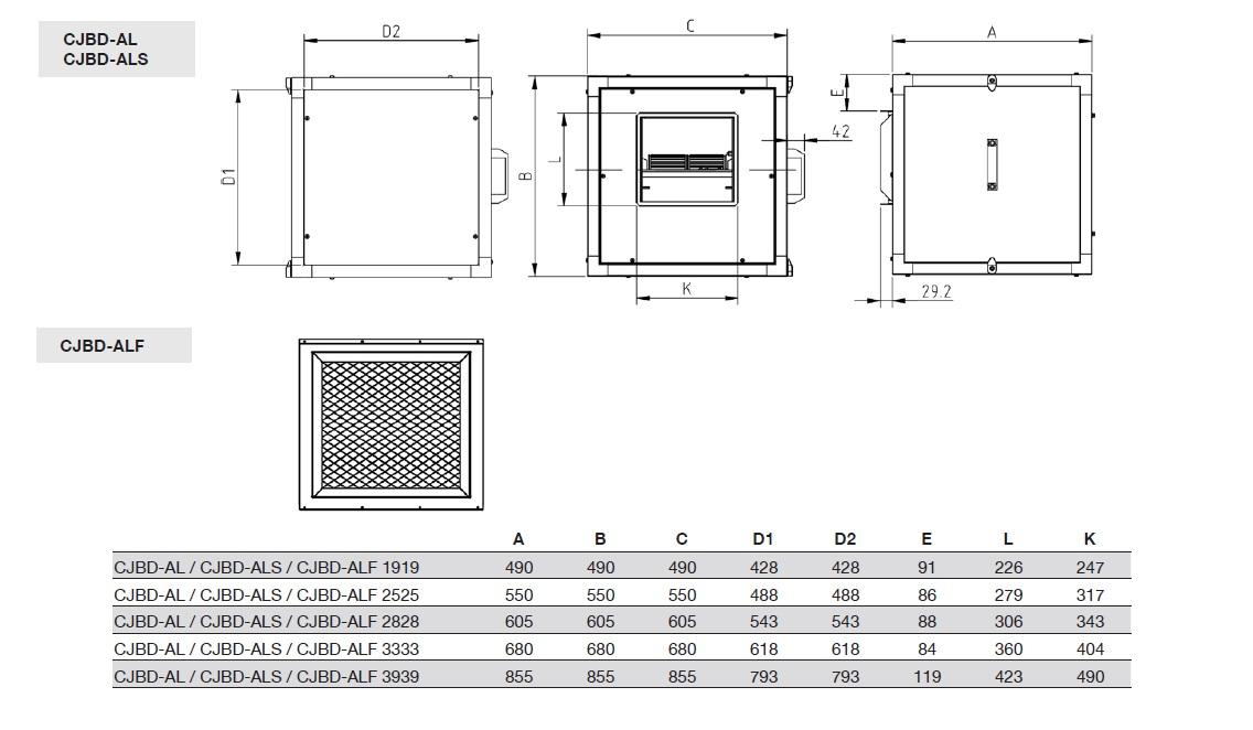 Dimensiones Unidades de Ventilación Sodeca CJBD-ALF