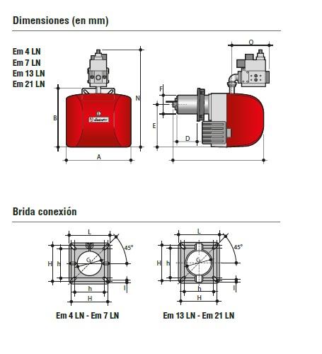 Dimensiones del quemador quemador Em LN 1