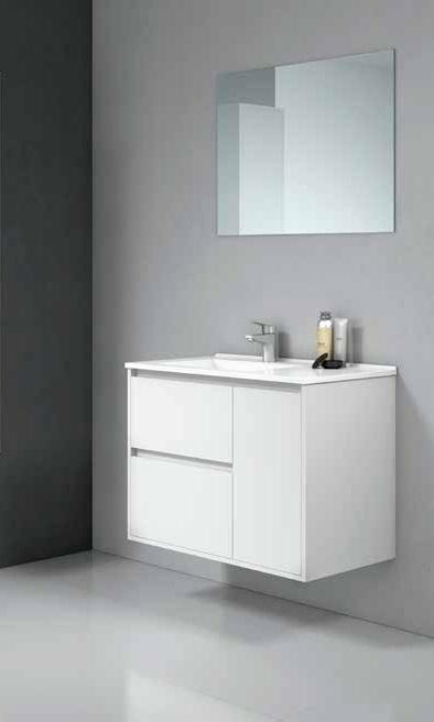 Mueble suspendido Ctesi Tagus con lavabo de cerámica 80 cm
