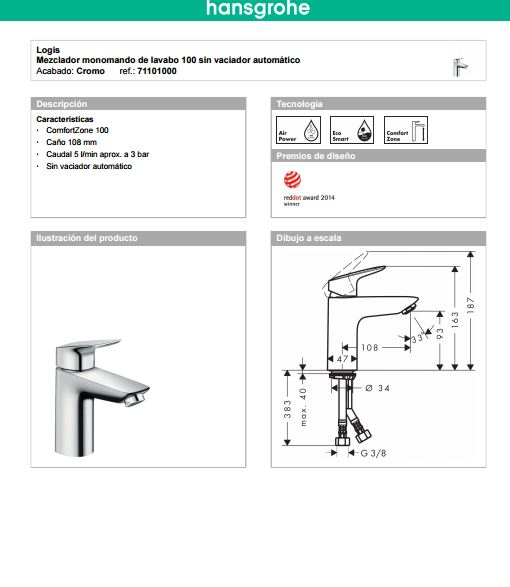 lavabo logis100 ficha
