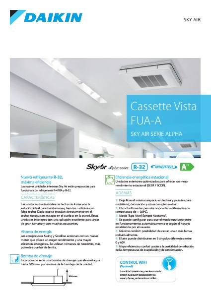 Aire Acondicionado Cassette Vista Daikin ZUAG-A - Ficha de producto