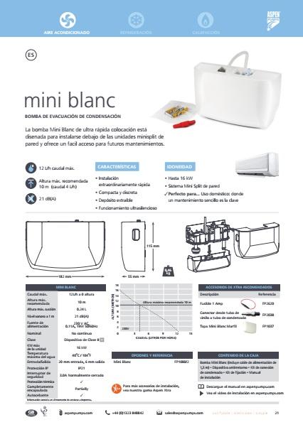 Bomba de condensados ASPEN Mini Blanc - Ficha