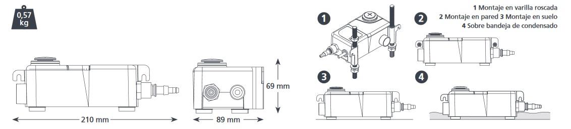 Bomba de condensados ASPEN Mini Tank - Esquema