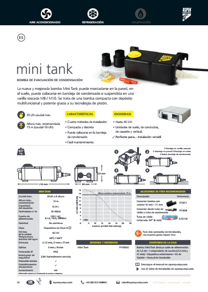 Bomba de condensados ASPEN Mini Tank - ficha