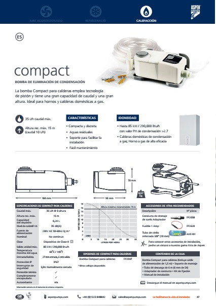 Bomba de condensados ASPEN para calderas Compact - Ficha de producto