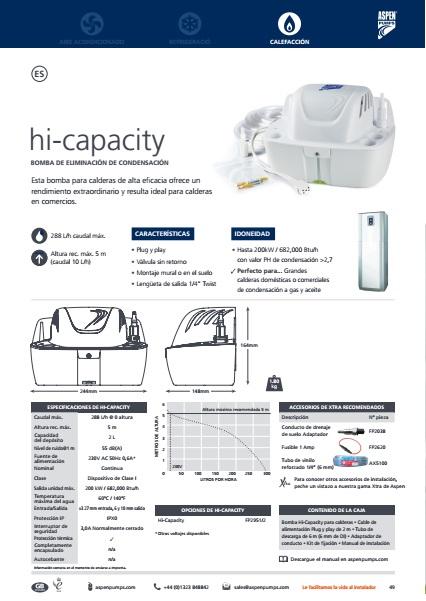 Bomba de condensados ASPEN para calderas Hi-Capacity - Ficha de producto