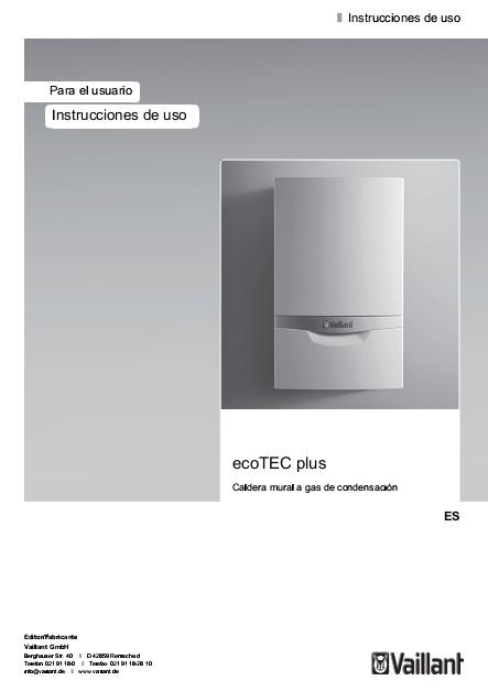 Instrucciones de uso Caldera Vaillant ecoTEC plus