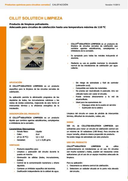 Líquido para limpieza circuito de calefacción Cillit - Ficha de producto