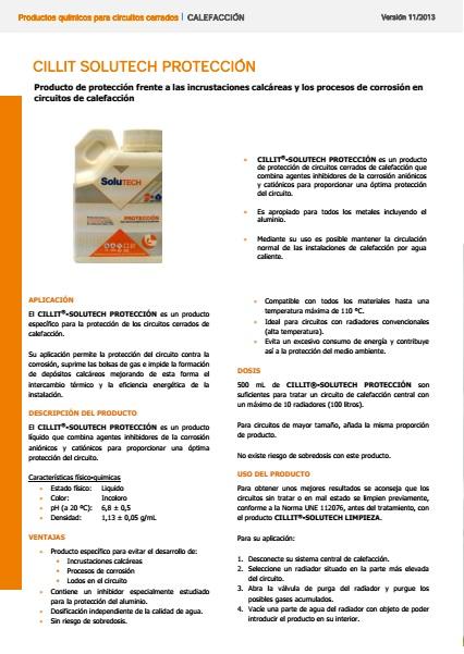 Líquido para mantenimiento circuito de calefacción Cillit - Ficha de producto