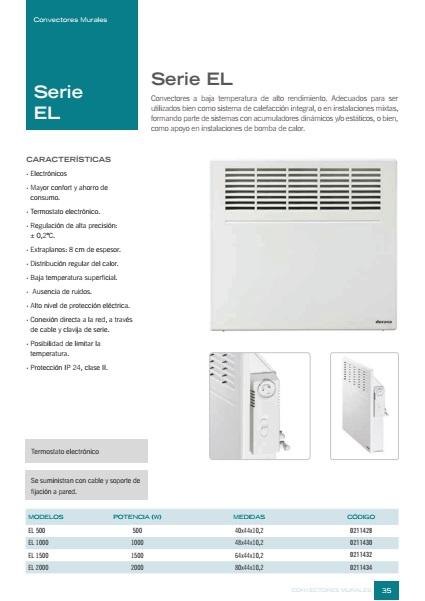 Convector Mural Ducasa EL  - Ficha de producto