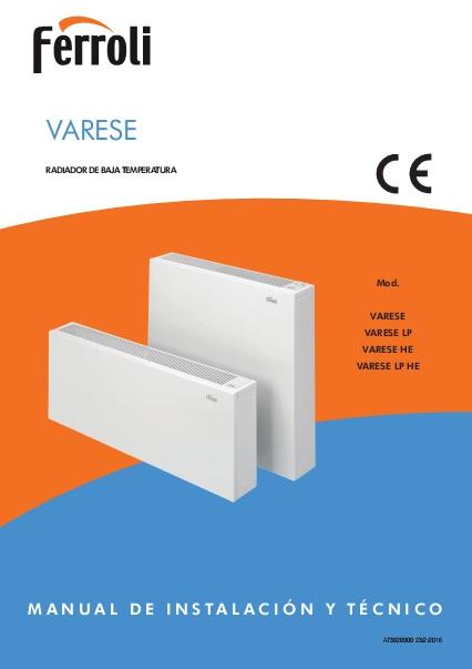 Manual - Radiador de baja temperatura Ferroli VARESE