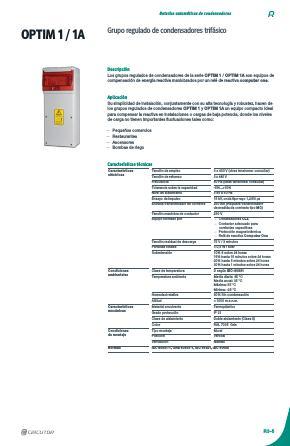 Batería de condensadores Circutor OPTIM 1 - Ficha de producto