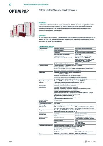 Batería de condensadores Circutor OPTIM 5 - Ficha de producto