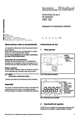 Termostato-modulante-vaillant VRT 50 - Instrucciones de uso