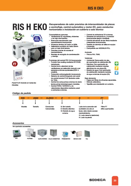 Recuperador de calor Sodeca RIRS H EKO - Ficha de producto