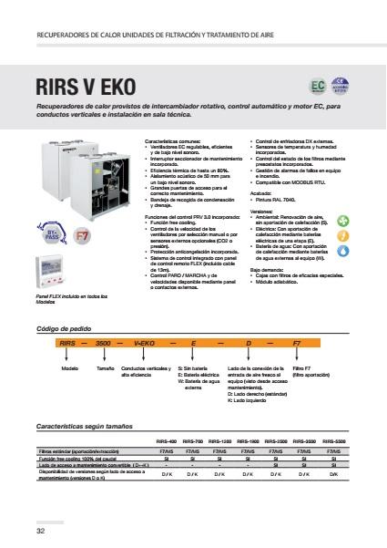 Recuperador de calor Sodeca RIRS V EKO - Ficha de producto