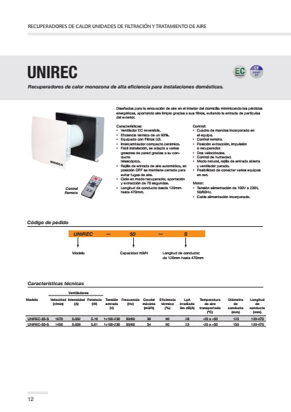 Recuperador de calor Sodeca UNIREC - Ficha de producto