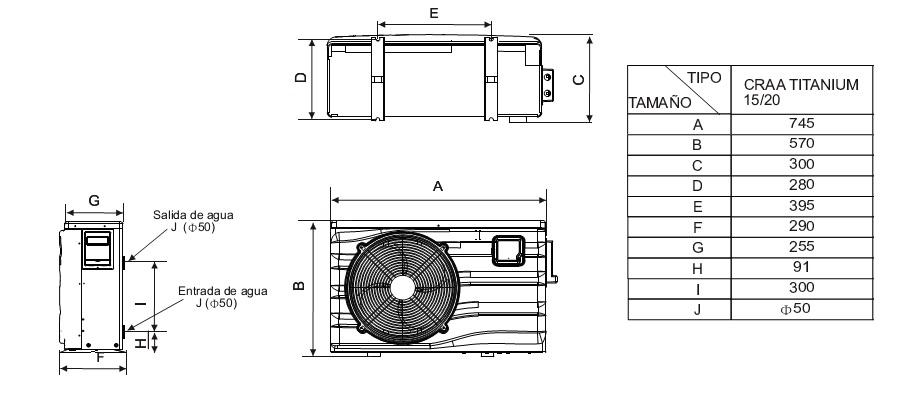 Bombas de calor para piscinas daitsu craa titanium 20 for Instalacion de bomba de calor para piscinas
