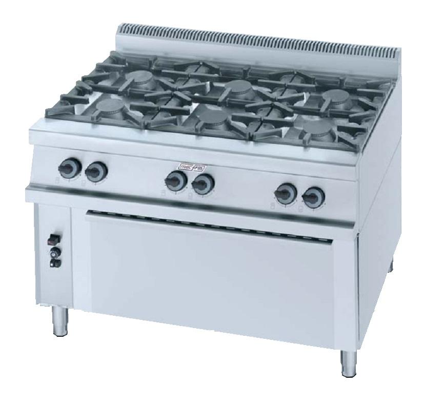 Cocina con horno a gas eurast 3592 6 fuegos for Cocina de gas con horno