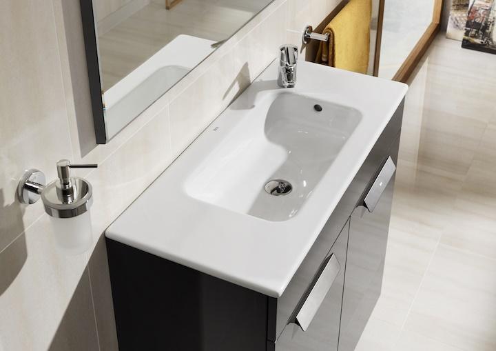 Conjunto mueble de ba o roca debba compact 60x36cm gris for Conjunto sanitarios bano